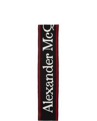 schwarzer und weißer bedruckter Schal von Alexander McQueen