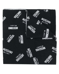 schwarzer und weißer bedruckter Schal von Moschino