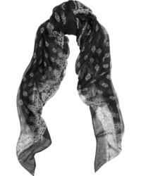 schwarzer und weißer bedruckter Schal von Saint Laurent