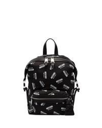 schwarzer und weißer bedruckter Segeltuch Rucksack von Moschino