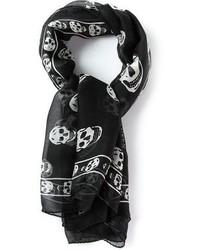 schwarzer und weißer bedruckter Seideschal von Alexander McQueen