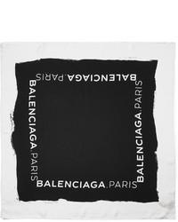 schwarzer und weißer bedruckter Seideschal von Balenciaga