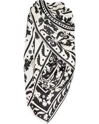 schwarzer und weißer bedruckter Seideschal von Temperley London