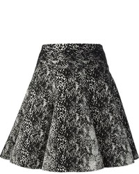 schwarzer und weißer bedruckter Skaterrock von Lanvin