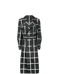 schwarzer und weißer bedruckter Trenchcoat von Alexander McQueen