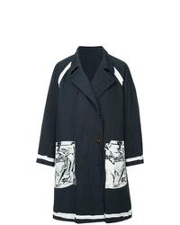 schwarzer und weißer bedruckter Trenchcoat von Kolor Beacon