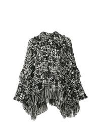 schwarzer und weißer Cape Mantel von Dolce & Gabbana
