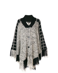 schwarzer und weißer Cape Mantel von Etro