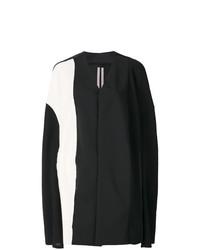 schwarzer und weißer Cape Mantel von Rick Owens