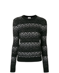 schwarzer und weißer Pullover mit einem Rundhalsausschnitt mit Chevron-Muster von Saint Laurent
