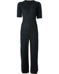 schwarzer und weißer gepunkteter Jumpsuit von Saint Laurent