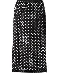 schwarzer und weißer gepunkteter Midirock von MM6 MAISON MARGIELA