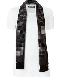 schwarzer und weißer gepunkteter Seideschal von Dolce & Gabbana