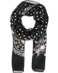 schwarzer und weißer gepunkteter Seideschal von Givenchy