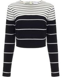 schwarzer und weißer horizontal gestreifter kurzer Pullover