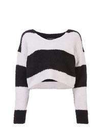 schwarzer und weißer horizontal gestreifter kurzer Pullover von Amiri