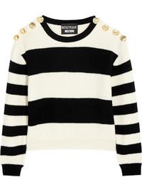 schwarzer und weißer horizontal gestreifter kurzer Pullover von Moschino