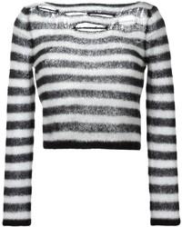 schwarzer und weißer horizontal gestreifter kurzer Pullover von Saint Laurent
