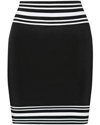 schwarzer und weißer horizontal gestreifter Minirock von Balmain