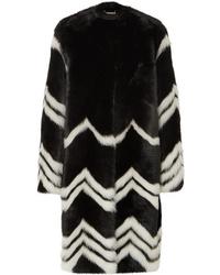 schwarzer und weißer horizontal gestreifter Pelz von Givenchy