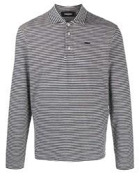 schwarzer und weißer horizontal gestreifter Polo Pullover von DSQUARED2