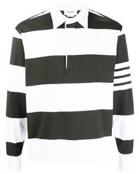 schwarzer und weißer horizontal gestreifter Polo Pullover von Thom Browne
