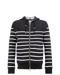 schwarzer und weißer horizontal gestreifter Pullover mit einem Kapuze