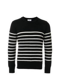 schwarzer und weißer horizontal gestreifter Pullover mit einem Rundhalsausschnitt von AMI Alexandre Mattiussi