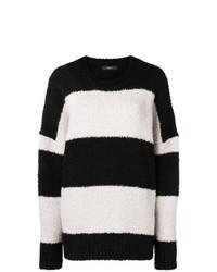 schwarzer und weißer horizontal gestreifter Pullover mit einem Rundhalsausschnitt von Amiri