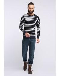 schwarzer und weißer horizontal gestreifter Pullover mit einem Rundhalsausschnitt von Dreimaster