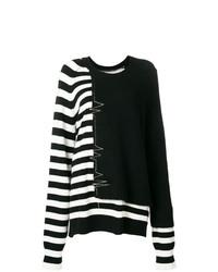 schwarzer und weißer horizontal gestreifter Pullover mit einem Rundhalsausschnitt von Haider Ackermann