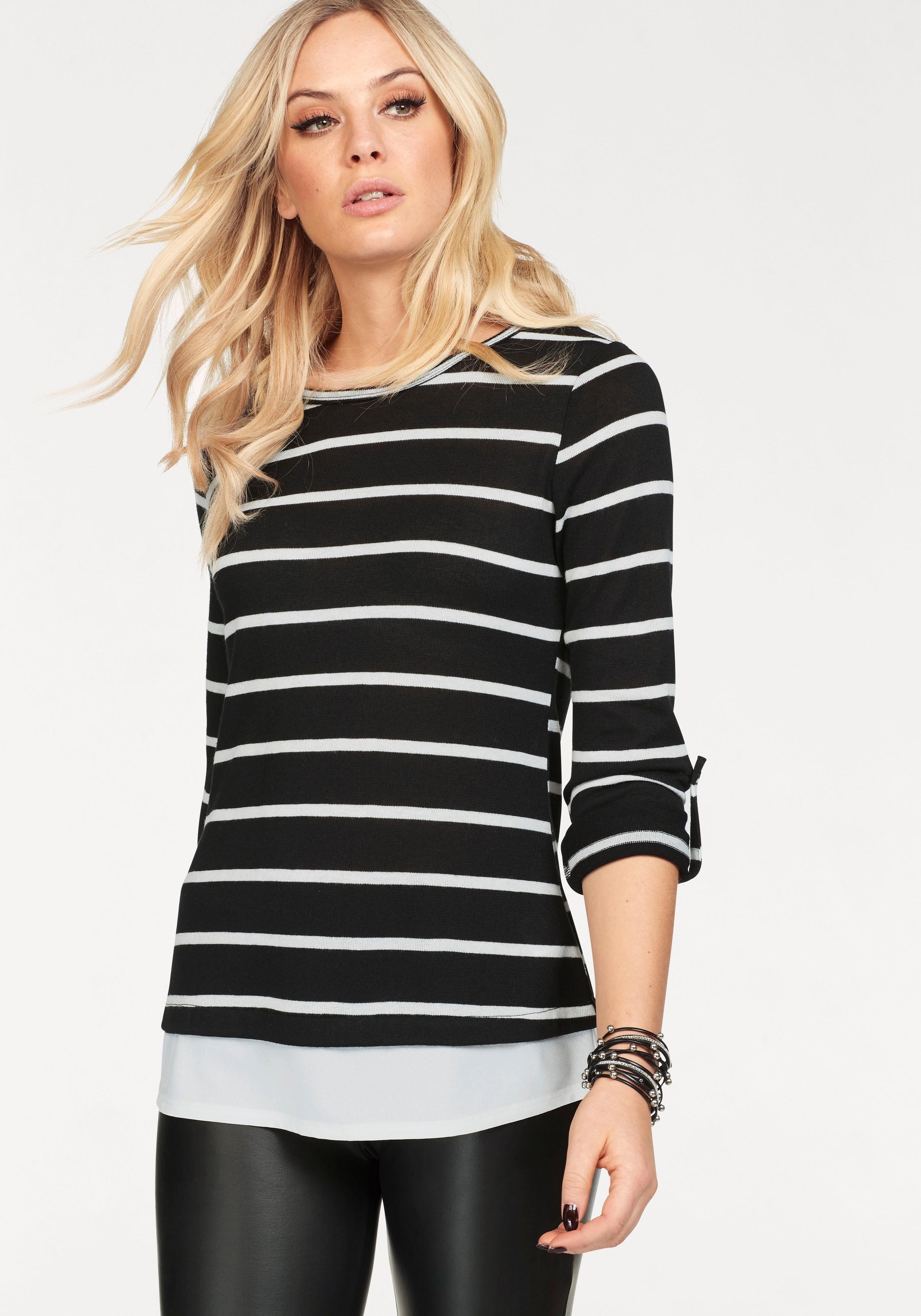 schwarzer und weißer horizontal gestreifter Pullover mit einem Rundhalsausschnitt von Hailys