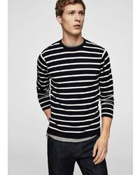 schwarzer und weißer horizontal gestreifter Pullover mit einem Rundhalsausschnitt von Mango Man