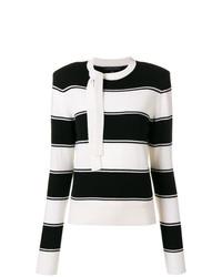 schwarzer und weißer horizontal gestreifter Pullover mit einem Rundhalsausschnitt von Marc Jacobs
