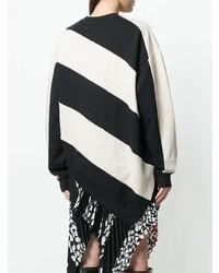 schwarzer und weißer horizontal gestreifter Pullover mit einem Rundhalsausschnitt von MARQUES ALMEIDA