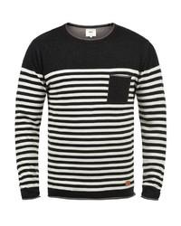 schwarzer und weißer horizontal gestreifter Pullover mit einem Rundhalsausschnitt von Redefined Rebel