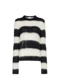 schwarzer und weißer horizontal gestreifter Pullover mit einem Rundhalsausschnitt von Saint Laurent