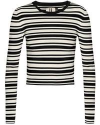 schwarzer und weißer horizontal gestreifter Pullover mit einem Rundhalsausschnitt von Topshop