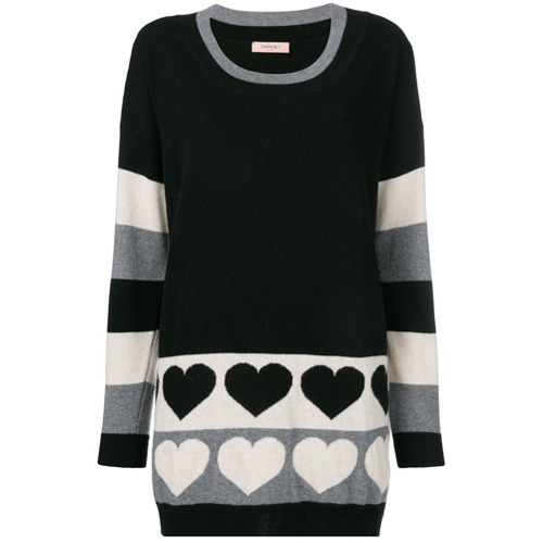 schwarzer und weißer horizontal gestreifter Pullover mit einem Rundhalsausschnitt von Twin-Set