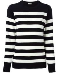 Schwarzer und weißer horizontal gestreifter Pullover mit Rundhalsausschnitt von Saint Laurent