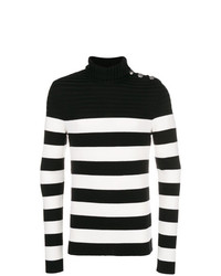 schwarzer und weißer horizontal gestreifter Rollkragenpullover von Balmain