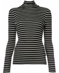 schwarzer und weißer horizontal gestreifter Rollkragenpullover von Derek Lam
