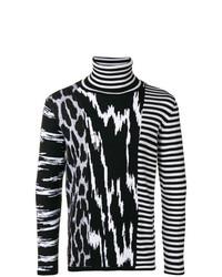 schwarzer und weißer horizontal gestreifter Rollkragenpullover von Givenchy