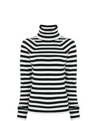 schwarzer und weißer horizontal gestreifter Rollkragenpullover von Haider Ackermann