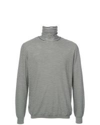 schwarzer und weißer horizontal gestreifter Rollkragenpullover von John Elliott
