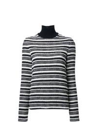 schwarzer und weißer horizontal gestreifter Rollkragenpullover von Martin Grant