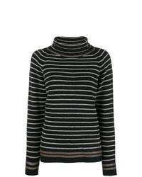schwarzer und weißer horizontal gestreifter Rollkragenpullover von Phisique Du Role