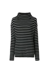 schwarzer und weißer horizontal gestreifter Rollkragenpullover von The Gigi