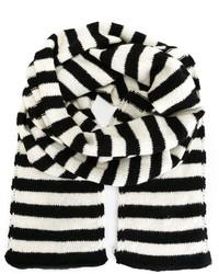 schwarzer und weißer horizontal gestreifter Schal von Saint Laurent