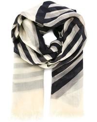 schwarzer und weißer horizontal gestreifter Schal von Stella McCartney